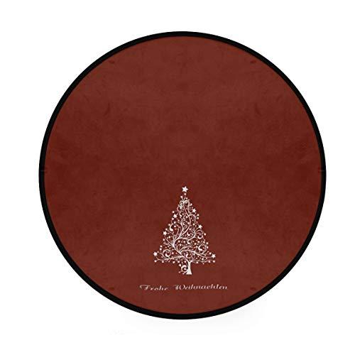 LORONA Weihnachtsbaum Teppich runde rutschfeste Teppich Wohnzimmer Schlafzimmer Bad Bodenmatte Wohnkultur (3 Fuß rund)