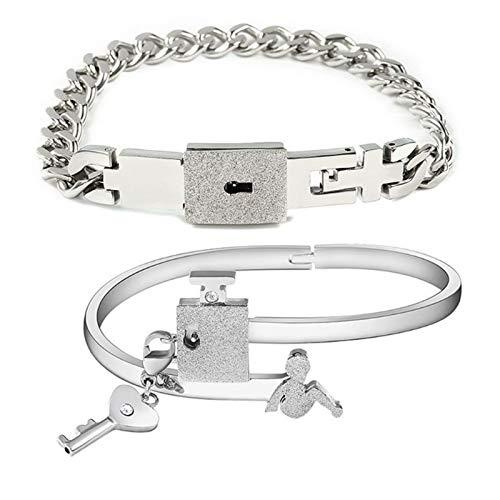 JIEERCUN Joyería en Forma de corazón, Colgante de Acero Inoxidable, Colgante Clave, Collar, Pareja Regalo brazaletes (Color : Silver)