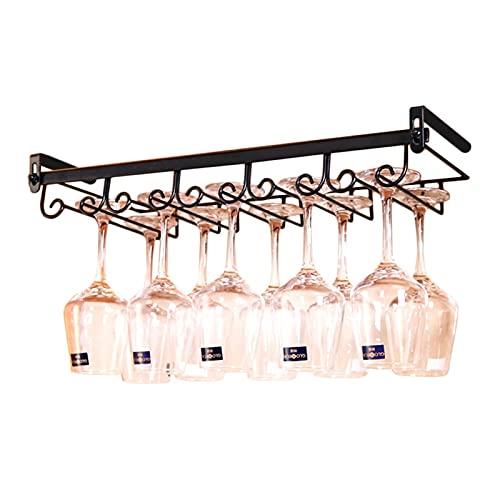 ZHPBHD En el gabinete, Soportes de Vino, Metal, gabinete, Colgante de Vino, Tenedor de Vidrio, estantería de Almacenamiento para 10 Vino de Vidrio 55x22.5x5.5cm