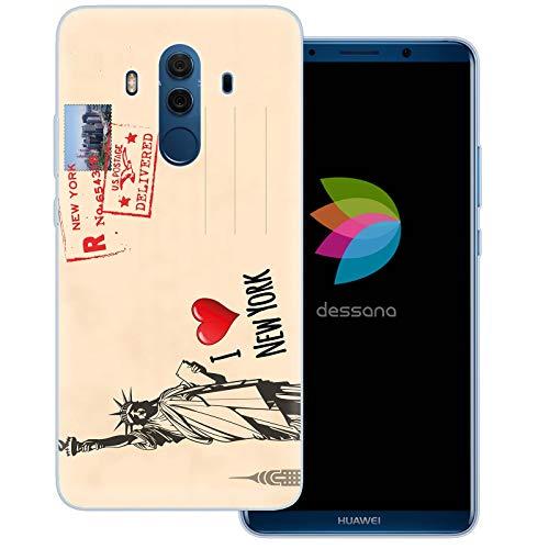 dessana postzegels transparante beschermhoes mobiele telefoon case cover tas voor Huawei, Huawei Mate 10 Pro, Ansichtkaart New York