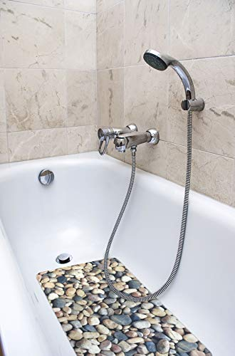 "Splash Home Pebbles Fabric Printed PVC Bathtub Mats Non-Slip Mildew Resistant Extra Long Machine-Washable with 58 Strong Suction Cups, 16"" x 27"" Inch (Grey)"