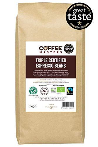 Koffie Meesters Driemaal Gecertificeerde, Organische, Fairtrade, Arabica Koffie Bonen 1kg - GREAT TASTE WINNAAR 2018