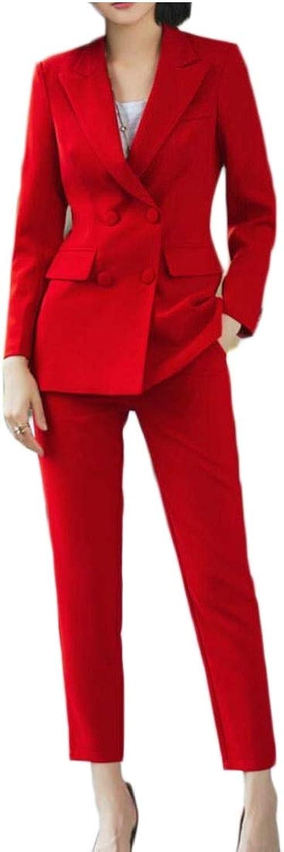 Desolateness Women Suit Set Solid Long Sleeve Blazer Pants Outfit Casual 2 Pieces