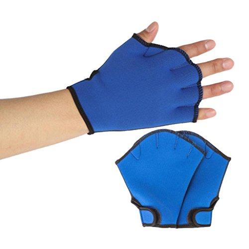 Trada Tauchen gewebter Handschuhe, Schwimmen Surfen Schwimmhäute Handschuhe Training Flossen Handpaddel Surfen Schwimmen Aquatic Übung Wasser Widerstand Fingerlose Schwimmen Hand (L, Blau)