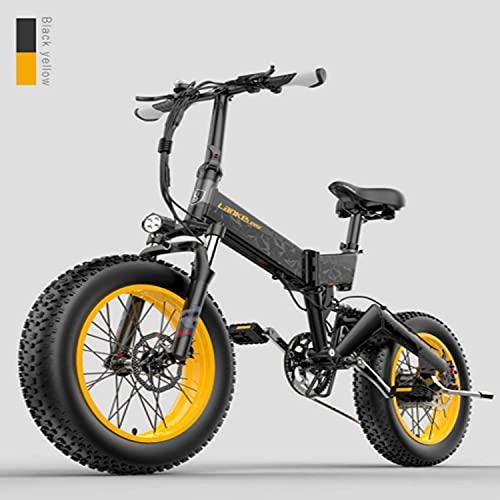 Haowahah LANKELEISI Electric Bike X3000 1000w 48v 14Ah 20 * 4.0 Fat Tire Mountain E-Bike Folding Snow Bicying Adult Electric Bike (Yellow, A battery)