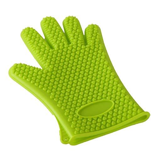 LYX Silikon hitzebeständige Handschuhe, isoliert und wasserdicht, Grillen, Kochen, Backen im Ofen, Rauch-Isolations-Pads, Fingerhandschutz (Color : Grün)
