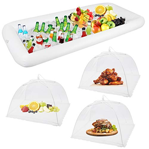 1PCS Inflatable Serving Bars and 3PCS Mesh Food Umbrella Covers Tent for Outdoor,Keep Salads Beverages Ice Cold - For Parties Indoor & Outdoor BBQ, Picnic Pool Party Supplies Luau Cooler