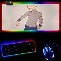 僕のヒーローアカデミアアニメ RGBゲーミングマウスパッドLED発光カラフルライトキーボードマットコンピューター拡張マウスマット 40x45x0.4cm