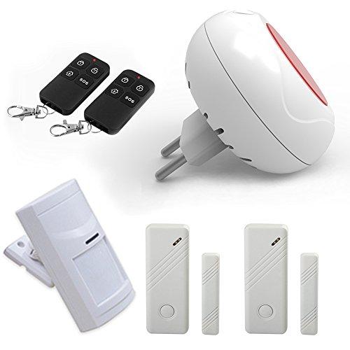 Allarme sirena WOLF Guard, sirena sirena da interno wireless 80dB con telecomando e sensore di contatto porta per negozio di...