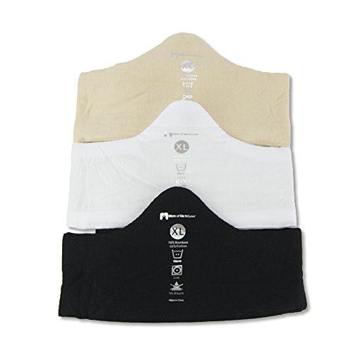 Bamboo & Cotton Bra Liner (3-Pack, XXL) - Wicks Sweat, Great for Sensitive Skin