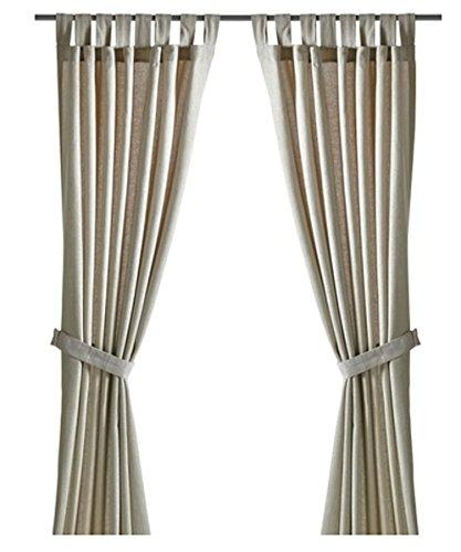 Ikea LENDA Pair of curtains with tie-backs, light beige 2 Panels
