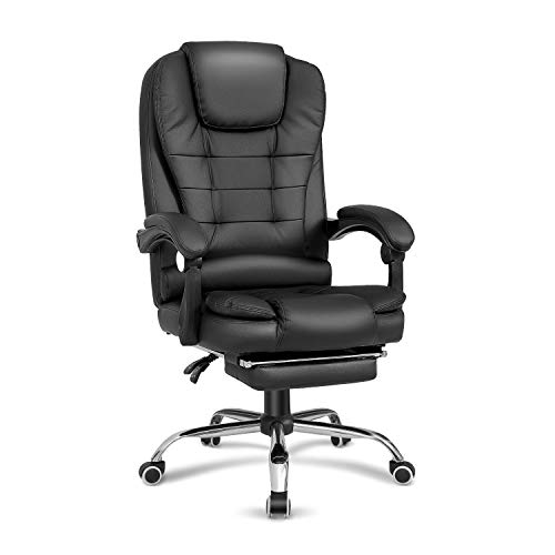 Kealive High Back Reclining Office Chair, PU Leather Executive Computer Desk Chair with Retractable Footrest, Adjustable Height Ergonomic Swivel Chair with Metal Base, Black