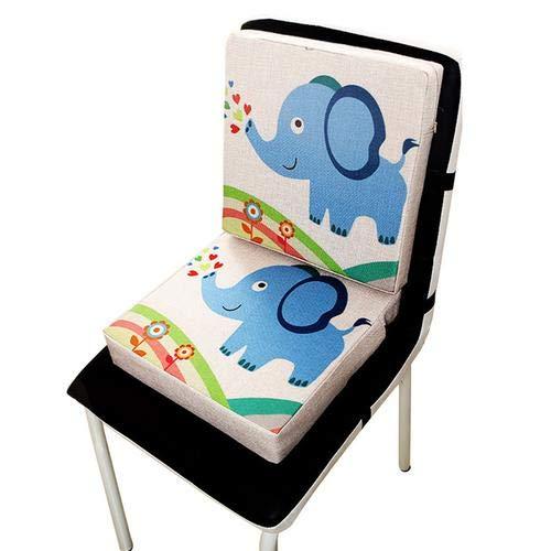 Wateralone Boostersitz Esszimmer Stuhl Sitzerhöhung Kinder Kindersitze, niedlichen Animal Print Flachs, demontierbar einstellbar, ideal als Hochstuhl für unterwegs für Babys(Elefant)