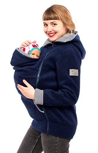 Viva la Mama Damen Tragejacke Fleece Winterjacke Mama Baby Fleecepullover für Tragetuch Umstandsjacke - AHOI Marine blau Streifen - L