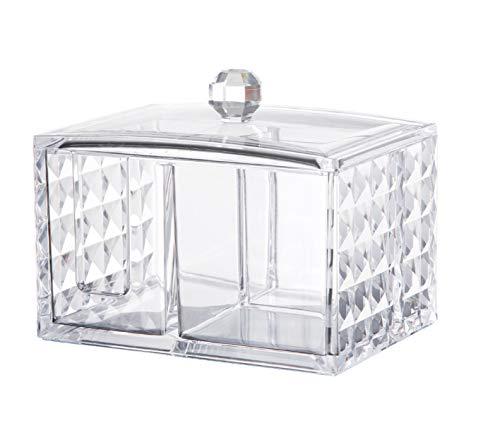 アクリルケース コスメ収納ボックス コットン 綿棒 小物 メイクケース ジュエリーボックス 蓋付き アクリル製 透明 …