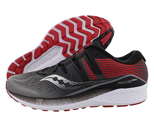 Saucony Men's Ride ISO Running Shoe, Grey/Black, 11.5 M US