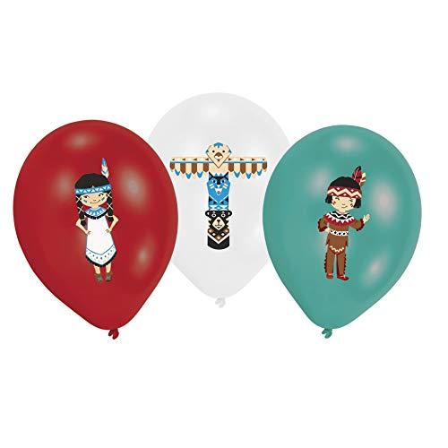 Amscan 9904141 - 6 globos con diseño de Tepee & Tomahawk, multicolor