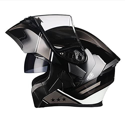 Casco Moto Modular Cascos Integral Flip Up Integradas Unas Gafas de Sol Escamoteables Doble Anti Niebla Visera Buen Sellado ECE Aprobado Difícil para Adulto 57-66CM
