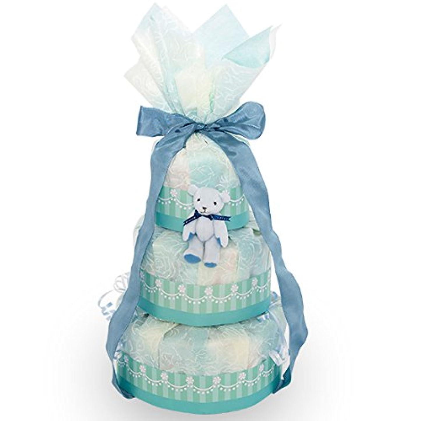植生手配する小麦粉出産お祝いに!【くまのおむつケーキ】おむつケーキ 可愛い 豪華 ソーダ ブルー 赤ちゃんへの内祝い 可愛いオリジナルメッセージカード付き! 好きな文章を印刷してお贈りします! パンパースMサイズ 日本製 テディベアのキーホルダー付き 女の子 男の子 ダイパーケーキ(3段)