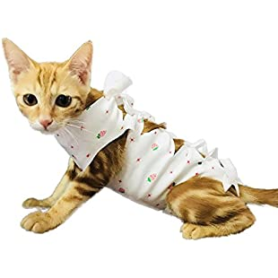 FIRIK Pet Recovery Suit Professional Cotton Sterilization Operation Clothing for Cats and Dogs - Strawberry - XS:Qukualian