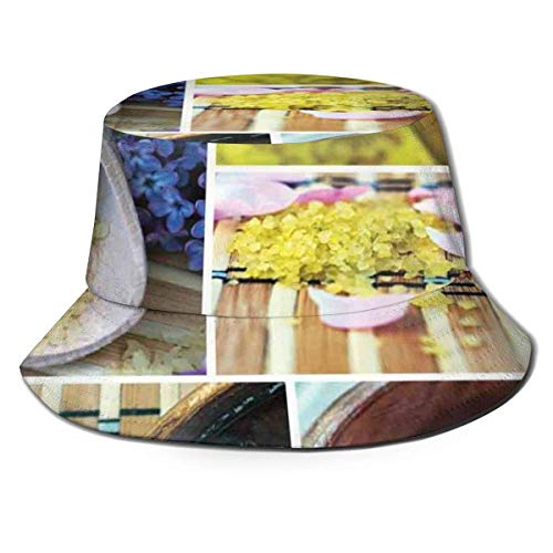Xian Shiy Unisex Fisherman Cap, Spa Bio-Kosmetik Thema Holzschale Blütenblätter Lavendel Kerze Kiesel Therapieöl, Travel Beach Hat