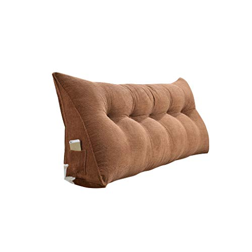 WJHCDDA Couchkissen Gürtel Kopfkissen Dreieck Bett-Kissen Soft Case Sofa Big Rückenkissen Bett zurück Color : Brown, Size : 120cm(4 Buttons)