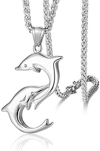 LLJHXZC Collar Acero Inoxidable Animal pez Doble delfín Colgante Collar Moda Amor delfín Collares joyería Regalo para él
