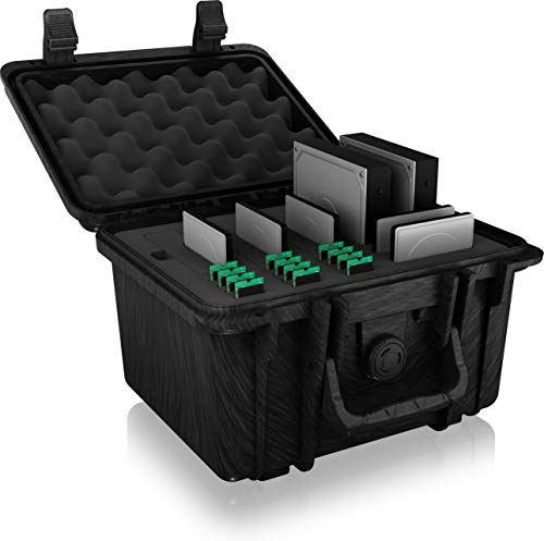 ICY BOX Festplatten Koffer für 19 Datenträger wie 3,5 Zoll Festplatten, 2,5 Zoll SSD/HDD und M.2 SSD, Klippverschluss, wasserfest, Schwarz, 60779