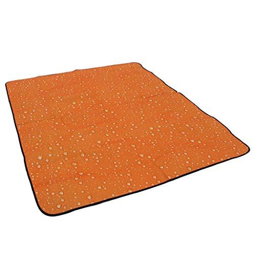 Couvertures De Pique-Nique Pliable extérieure imperméable Backing Beach Mat Tapis de Pique-Nique Camping avec poignée journée familiale, Voyage 180 * 150cm HMLIFE (Color : Orange)