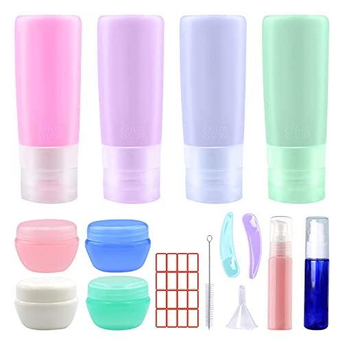 Silikon Reiseflaschen Set, Sepper 15 Stück auslaufsicher Reisegröße Behälter ausdrückbar Reise Accessoires für Toilettenartikel, Shampoo Weichspüler Lotion Gesicht Körper Duschgel