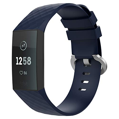 TiMOVO Pulsera, Pulsera de Silicona, Correa de Reloj Deportivo, Banda de Reloj de Silicona para Fitbit Charge 4/Fitbit Charge 3/Charge 3 SE, 145mm-210mm (5.70 Inch – 8.26 Inch) - Azul de Media