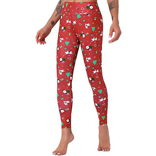 Lzansuii Women's Yoga Pants with High Waist Tummy Control Workout Sports Yoga Gym Santa Claus printing Leggings (Red, X-Large)