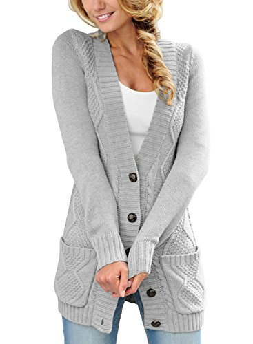 Happy Sailed Damen Langarm Strickjacke Cardigan Strickcardigan mit Knopf S-XXL, Grau, X-Large (EU48-50)