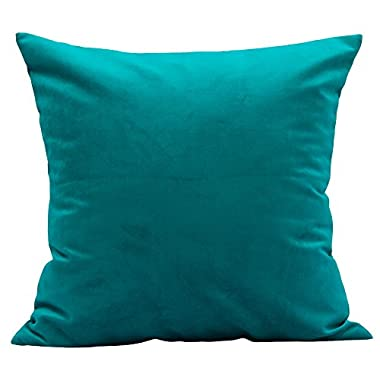 TangDepot Solid Velvet Throw Pillow Cover/Euro Sham/Cushion Sham, Super Luxury Soft Pillow Cases, Many Color & Size options - (12 x12 , Teal)