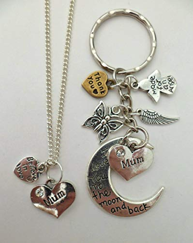 Silver Necklace & Keyring Set I Love You To The Moon & Back Mum