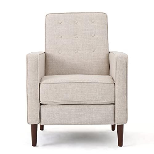 Christopher Knight Home Mervynn Mid-Century Modern Fabric Recliner, Cream
