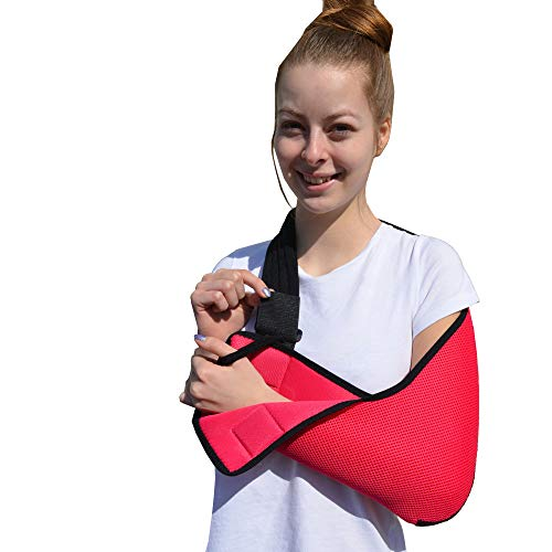 Child and Adult Arm Sling Shoulder Support, Medically Approved (Adult M, Rasp/Black) Cool, Easy fit/Sizing, Thumb Loop, Unisex.