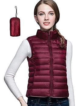 Women Packable Lightweight Down Coat Vest Outdoor Puffer Vest Wine Red XL  US 12
