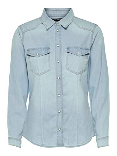 ONLY Damen Jeans-Hemd ONLRockit Life Shirt mit Knopfleiste 15195898 Light Blue Denim 38