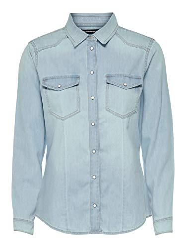 ONLY Damen ONLROCKIT Life LS Shirt BB NAS7844 Hemd, Blau (Light Blue Denim Light Blue Denim), Small (Herstellergröße: 36)