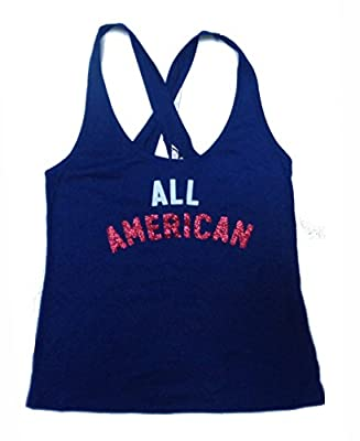 Victoria's Secret Women's Blue All American Flag Tank Top Sleep Size S from