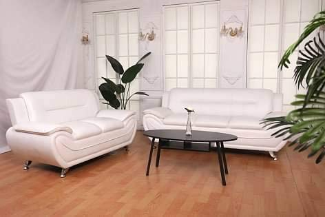 Best Greatime S2301 White Leatherette Sofa and Love seat Sets