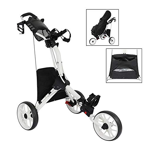 Find Bargain HSART Push Pull Golf Cart 3 Wheels Golf Trolley with Umbrella Stand, Cooler Bag Multi-F...