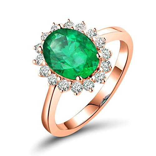 Adisaer Gold Rings 18K Real Gold,Women Ring Oval Emerald Flower 18K Rose Gold Women Ring Rose Gold Promise Ring 0.8CT Emerald and 0.16CT Diamond Size T 1/2