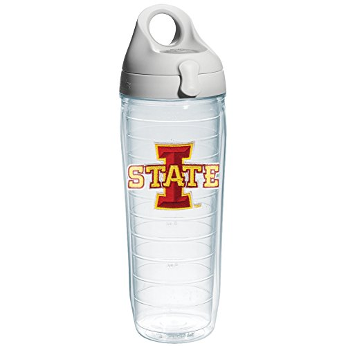 Tervis 1073565 Iowa State University Emblem Individual Water Bottle with Gray lid, 24 oz, Clear