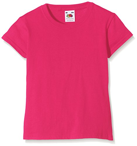 Fruit of the Loom Fruit of the Loom Mädchen Valueweight T-Shirt, Rosa (Fuschia 57), Gr. 3-4 Jahre (104 cm)