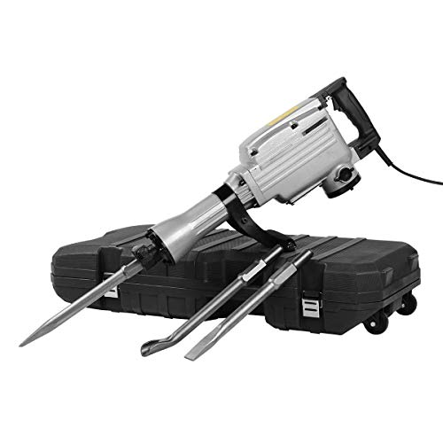 1700W Electric Demolition Jack Hammer Drill Heavy Duty Concrete Breaker 1400RPM Jack Hammer Demolition Drills with 3 Flat Chisel Point Chisel U Chisel
