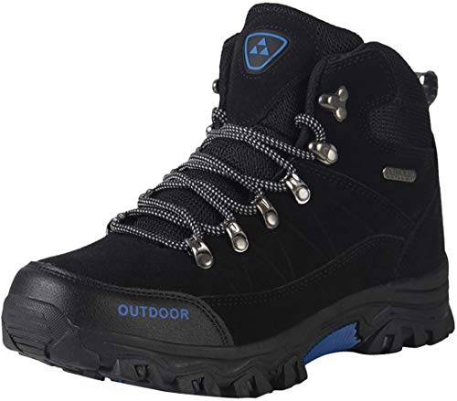 Men's Hiking Boots Waterproof Lightweight Insulated Hiker Anti Slip Outdoor Camping Autumn Winter Trail Sneaker Easy On and Off (12, Black)