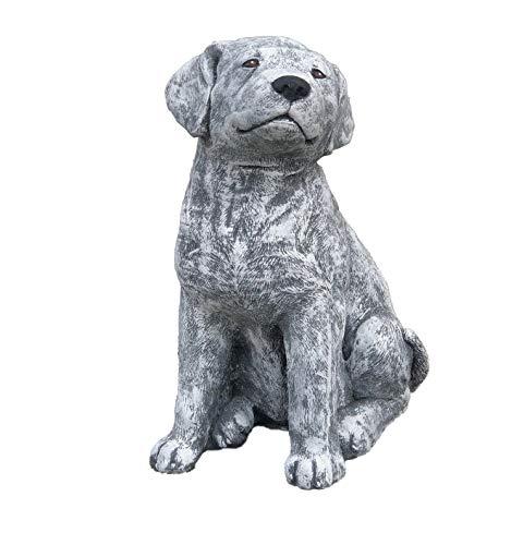 stoneandstyle Steinfigur großer Labrador Hund, Höhe ca. 36 cm, Gewicht 14,3 kg, Frost- und wetterfest bis -30°C, massiver Steinguss