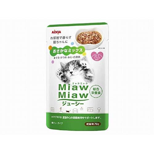 (まとめ買い)アイシア ミャウミャウ ジューシー おさかなミックス 70g 猫用缶詰 【×48】